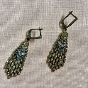 Vintage silver Deco earrings w/ blue, white stones